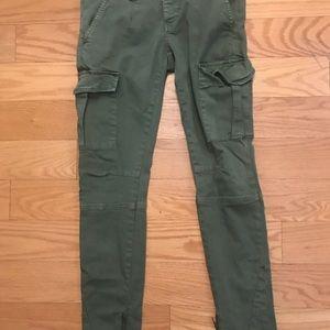 Free people slim cargo pants w zip detail